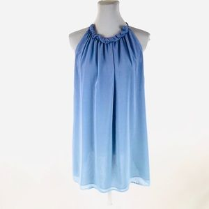 NY Collection 1X blue and white sleeveless blouse